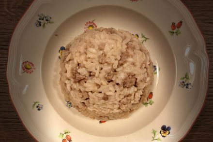 Sausage and Barbera risotto