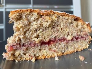 Buckwheat cake with cranberry jam