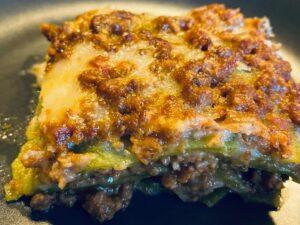 Authentic lasagna bolognese portion