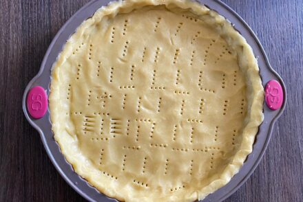 Rich shortcrust pastry in a tart pan
