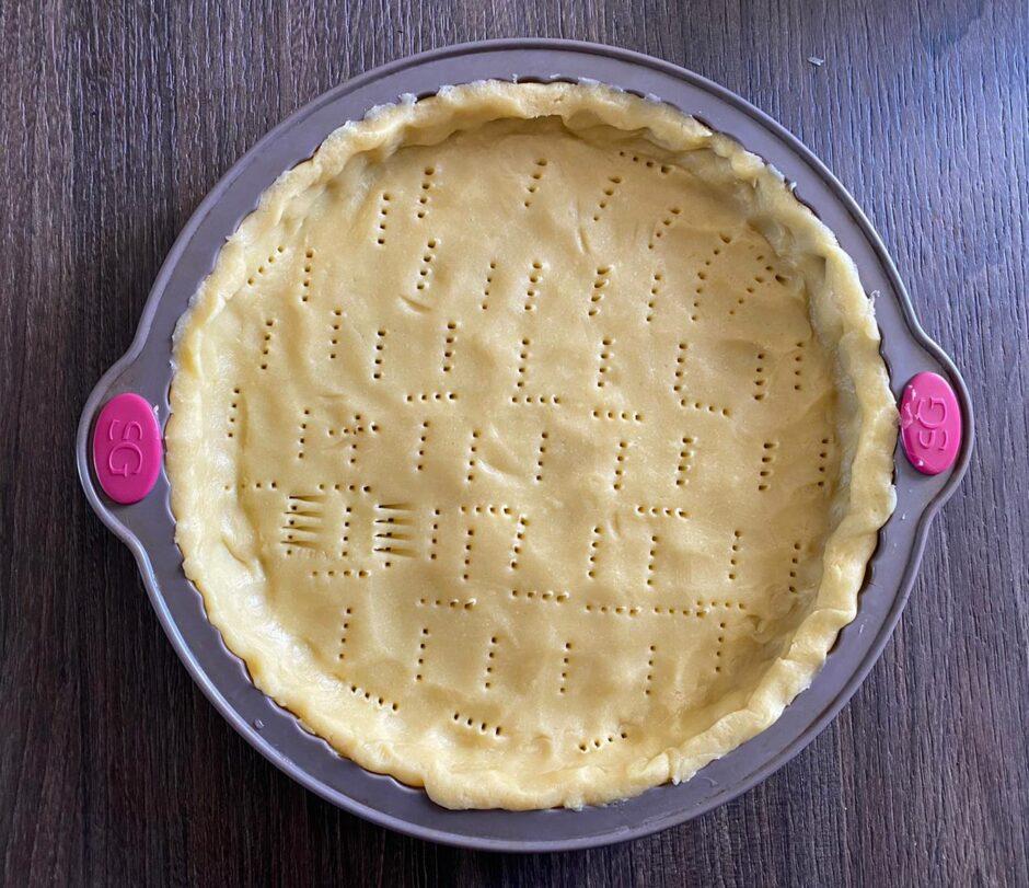 Rich shortcrust pastry in a tart pan