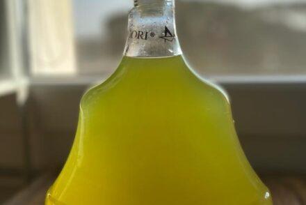 Homemade limoncello with grain alcohol