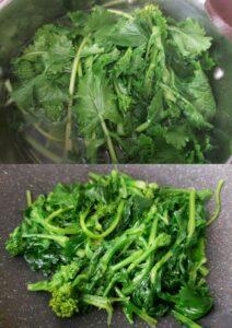 Orecchiette with broccoli rabe - broccoli rabe boiling