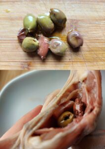 Bacon-wrapped quail - olives