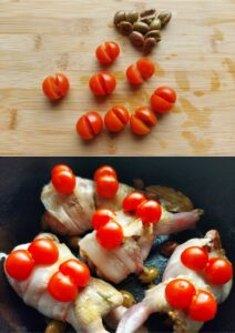 Bacon-wrapped quail - olives and tomatoes